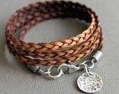 Leather Wrap Bracelet Brown Thin Flat Braid Sterling Silver Charm