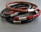 Three Braided Leather Stacking Bangle Bracelets Mix Match