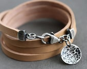 Leather Wrap Bracelet Sterling Silver Charm Beige Tan