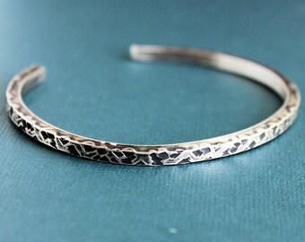 CLEARANCE Mens Cuff Bracelet, Mens Sterling Silver Hammered Bracelet