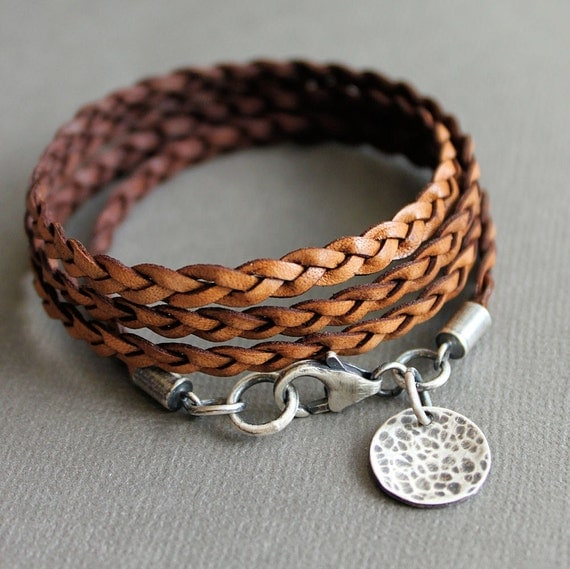 Leather Wrap Charm Bracelet: Leather Wrap Bracelet Brown Thin Flat Braid Sterling Silver