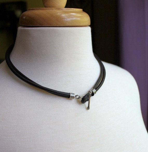 Mens Leather Necklace Rustic Silver Toggle Natural Brown