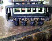 Vintage Trolley Street Car Cast Iron Collectible Toy