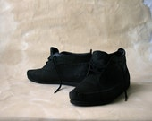 Vintage Black Leather Moccasin Ankle Booties, Size 8