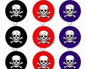 1 inch Circle Images for bottle cap, scrapbooking or other - Skulls Black Red and Blue with Automatic Digital Download