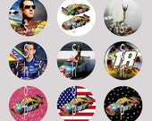 1 Inch Circle Images for bottle cap, scrapbooking, cupcake or other - Kyle Busch 18 Racing with Automatic Digital Download