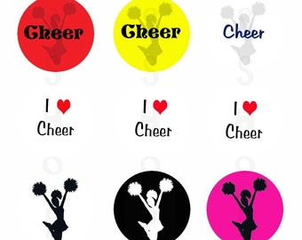 1 inch Circle Images for bottle cap, scrapbooking or other - I Heart Cheerleading Cheer is Life with Automatic Digital Download