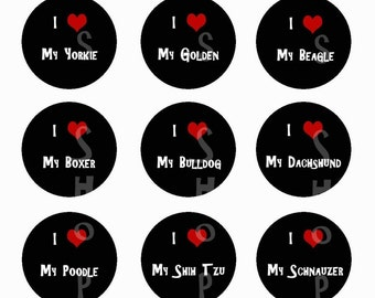 1 inch Circle Images for bottle cap, scrapbooking or other - Dog Breeds - Lab, Chihuahua, Yorkie, Golden, More Automatic Digital Download