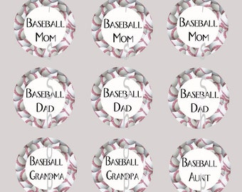 1 inch Circle Images for bottle cap, scrapbooking cupcake or other - Baseball Mom, Dad, Grandma, Star with automatic digital download