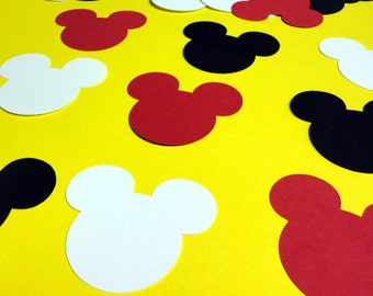 """30 Count 2.5"""" Mickey Mouse Head Silhouettes Red White Black Cutouts Die Cut Paper Crafting Scrapbooking Card Making Supplies"""