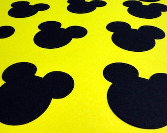 """2.5"""" Mickey Mouse Head Silhouettes Black Cutouts Die Cut Paper Crafting Scrapbooking Card Making Supplies"""