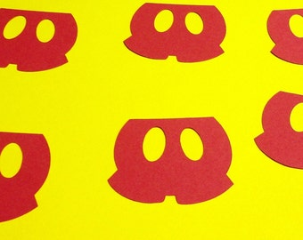 """5"""" Mickey Mouse Pants Shorts  Silhouettes Red Cutouts Die Cut Paper Crafting Scrapbooking Card Making Supplies"""