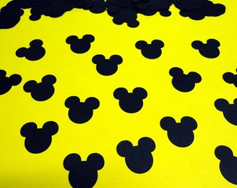 """100 - 1"""" Mickey Mouse Head Silhouettes Black Cutouts Die Cut Paper Crafting Scrapbooking Confetti Card Making Supplies"""
