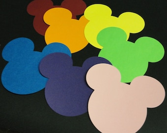 """35 - 5"""" Mix and Match Rainbow Mickey Mouse Head Silhouettes Cutouts Die Cut Paper Scrapbooking Supplies"""