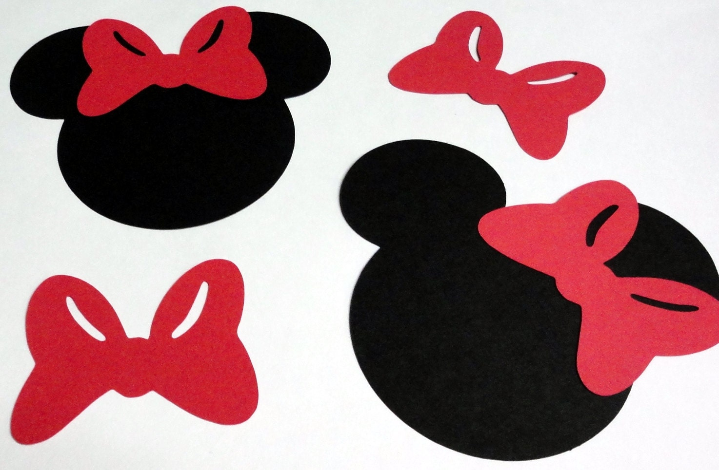 5 Minnie Mouse Head Silhouettes Black Cutouts with Bow