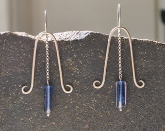 Sterling Silver Blue Bell Earrings