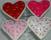 Valentine's Day Heart Shaped Felt Cookies Set of 12 reserved for Judy