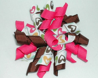 Hot Pink and Brown Hearts Pattern Valentine's Day Korker Bow Hair Clip