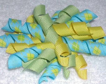 Yellow Green and Blue Argyle Korker Bow Hair Clip