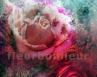 art print- Frozen Roses- digital collage painting, photos processed at PS