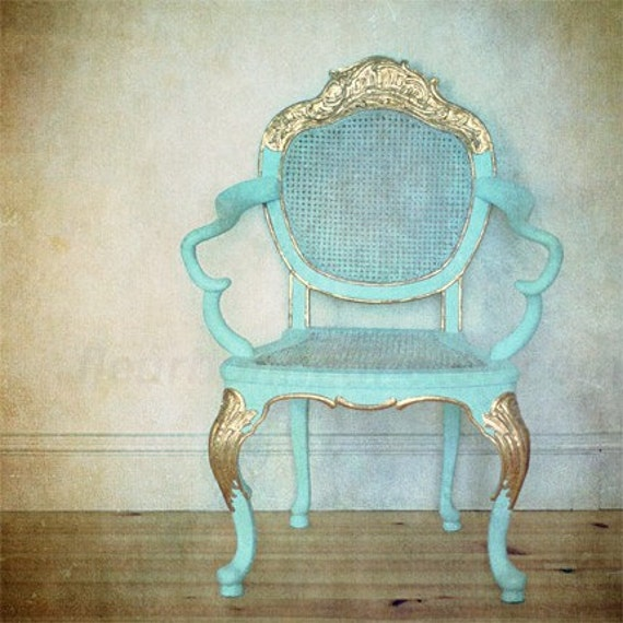 art print- Turquoise chair--- original photo processed at PS 8x8 inch