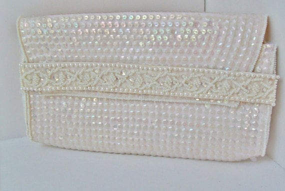 SALE Vintage Iridescent Sequin and Pearl Beaded Clutch Purse