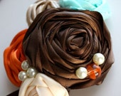 UPTOWN Satin Flower Cluster headband or hairclip - Brown Orange Aqua Ivory - Perfect Match to Little Guy Necktie Collection