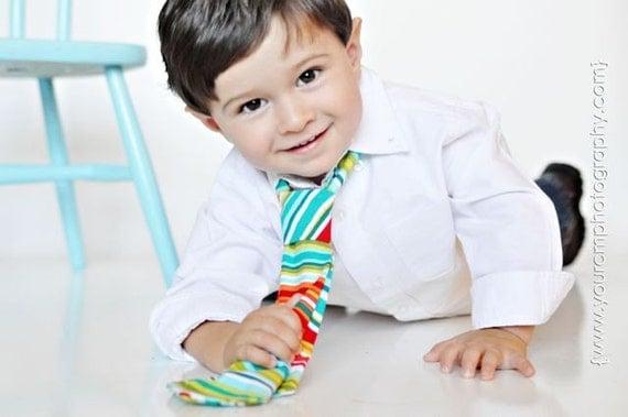 Little Guy Necktie Tie - Multistripe - (2T- 4T) - Baby Boy Toddler - Custom Order