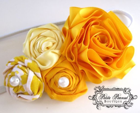 Vintage Couture Shabby Chic Shades of Yellow Satin Flower cluster headband- Light Pale Yellow Mustard - CUSTOM ORDER - Photography prop