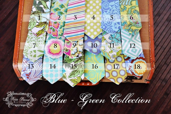 Little Guy SPRING Necktie Tie - Blue Green Collection - (Newborn - 12 months) - Baby Boy Toddler - Custom Order - Wedding - Photo Prop