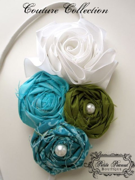 Vintage Couture Shabby Chic Flower cluster headband- White Aqua Teal Olive Green - CUSTOM ORDER - Photography prop - Wedding