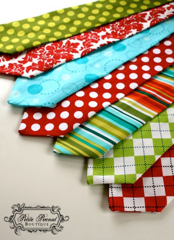 Little Guy HOLIDAY Necktie Tie - Very Merry Collection - (4- 6 years) - Baby Boy Toddler - Custom Order - Wedding - Photo Prop