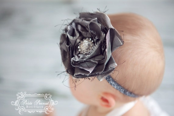 DAZZLE - Vintage Couture Shabby Chic Silk Flower headband- Gray - Custom Order - Photography Prop - Wedding
