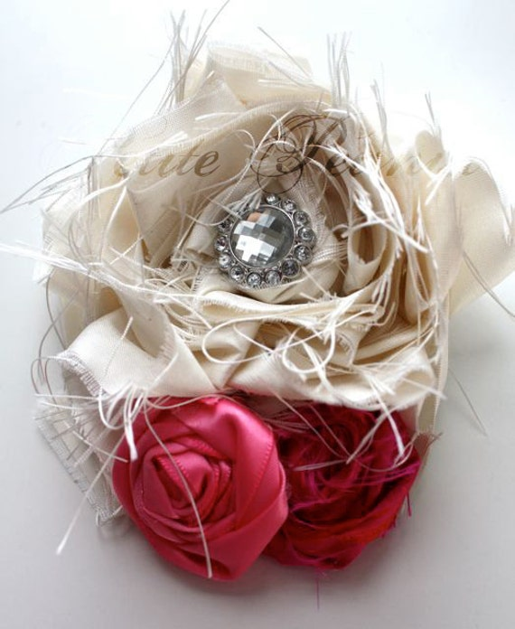 SWANKY Vintage Couture Silk Fabric Flower cluster  - Ivory Hot Pink Fuscia - (Custom Order) - Photo Prop - Valentines Day