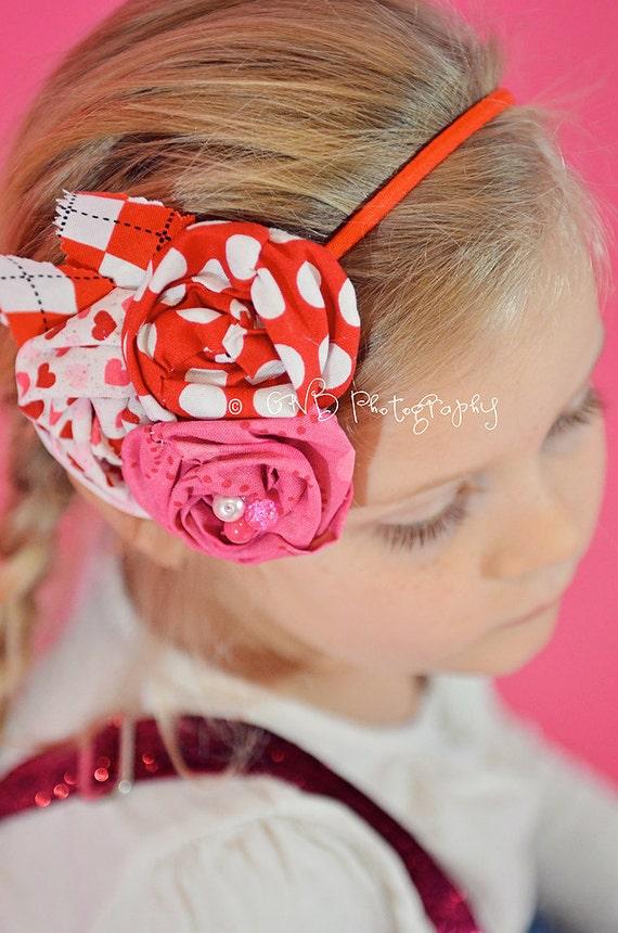 BLOSSOM - Shabby Chic Flower headband- Red Pink White - Custom Order - Photo Prop - Wedding - Holiday - Valentines Day