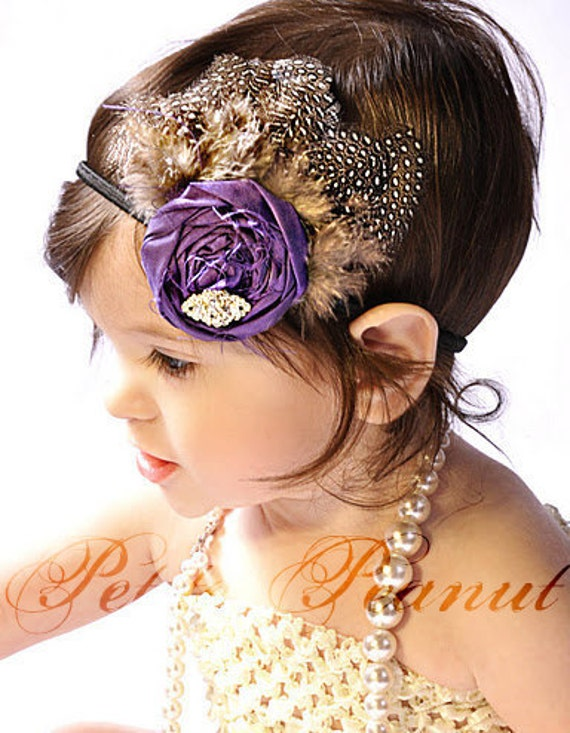 METROPOLITAN Vintage Silk Rhinestone Feather Flower headband  - Purple - (Custom Order) - Photo Prop - Wedding