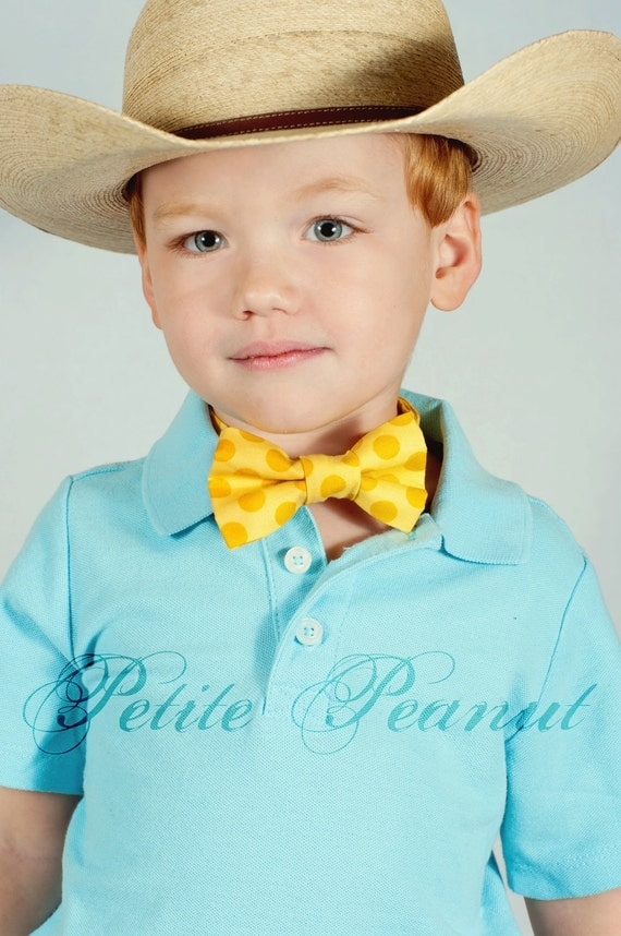 Little Guy SPRING EASTER Bow tie - Yellow Polka Dot - (Newborn - 10 years) - Baby Boy Toddler - Custom Order - Wedding - Photo Prop