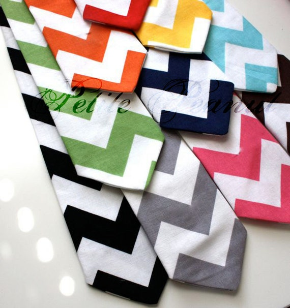 Little Guy Necktie Tie - CHEVRON Collection - (7- 10 years) - Boy Toddler - Wedding - Photo Prop