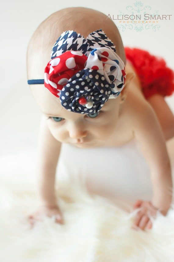 BLOSSOM - Shabby Chic Flower headband- LIBERTY Collection - Red White Blue - Custom Order - Photo Prop - Wedding - Spring Simmer