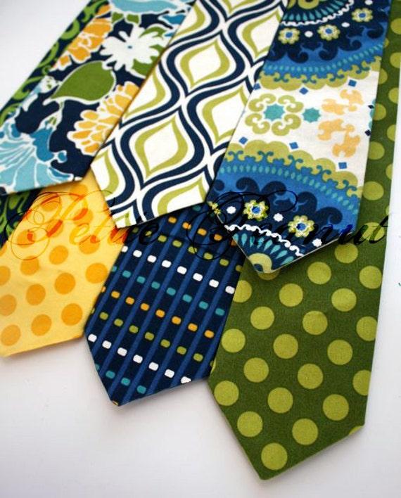 Little Guy Necktie Tie - Navy Green Yellow Collection - (12 months - 2T) - Baby Boy Toddler - Wedding - Photo Prop - Wedding