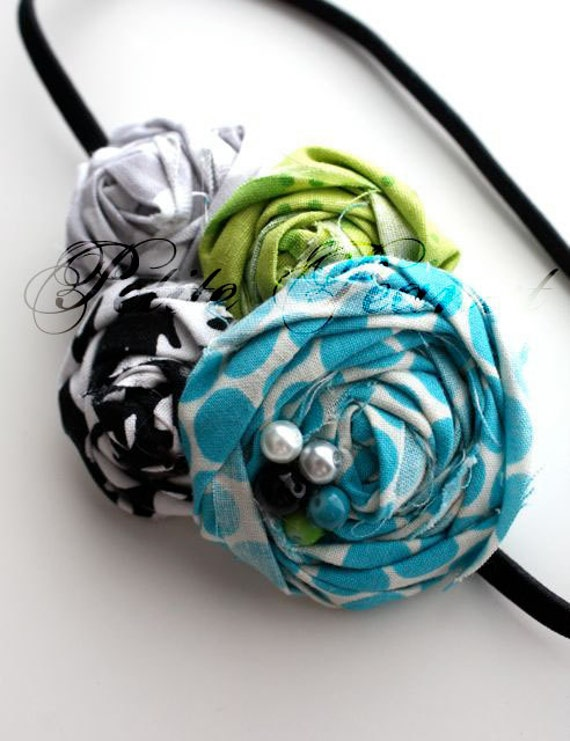 The SWEETIE Collection- Sourpatch headband - Lime Teal Black Gray White- cluster headband- CUSTOM ORDER - Wedding - Photography prop