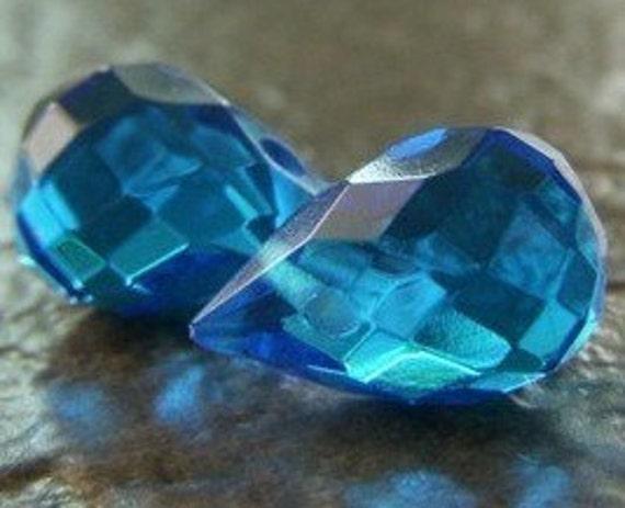 SALE Aqua Blue Teardrop Beads, Briolettes, .60 each LAST ONE 10pcs Aqua Briolette Beads - Crystal Faceted 10mm x 13mm