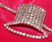 Vintage Rhinestone Top Hat Brooch