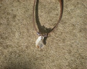 Virgin Mary and Seashell Leather Necklace - Unisex