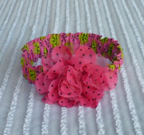 Green & Pink Floral Dog Scrunchie Necklace with pink chiffon and tulle rose - L - OOAK