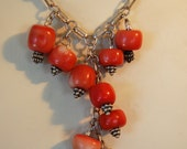 Sterling Silver and Natural Coral Chandelier Necklace
