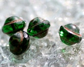 Emerald Shadow Picasso Saucer Cross Faceted Czech Glass Beads, 9x7mm, 10