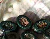 Hunter Picasso Starburst Window Oval Czech Glass Beads, 14x11mm, 8