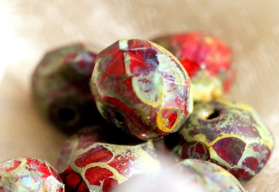 Picasso Czech Glass Bead, Pomegranate Brown Sugar II Faceted Roundel, 6x8mm, 10 -- LAST ONE --