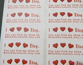30 PERSONALIZED I Heart Etsy Labels. 1 Sheet of White 1-Inch Labels. COLOR. 5261